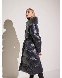 COLLABOTORY - Duck Down Belted Long Padded Parka Navy - Lyst