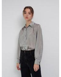 AEER Open Collar Blouse - Grey