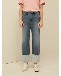13Month - [unisex] Roll Up Wide Denim Trousers Denim - Lyst