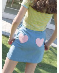 CLUT STUDIO 1 0 Heart Belt Denim Skirt - Blue