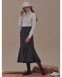 ANSWERING BIRD Claire Wool Skirt - Natural