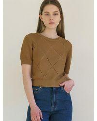 among A Diamond Knit Top - Brown