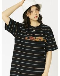 MADMARS [unisex] Blurry Printing T-shirts - Black