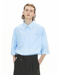 VOIEBIT V091 Two Pocket Half Shirt - Blue
