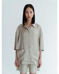 Amomento Half Sleeve Pyjamas Shirts - Blue