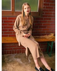 LIUNICK - Superb Button Dress Beige - Lyst