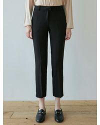 YAN13 Drama Suit Straight Slacks - Black