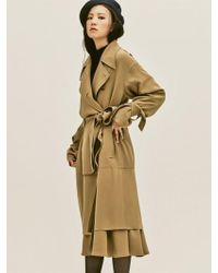 W Concept - Beige Silk Trench Coat - Lyst