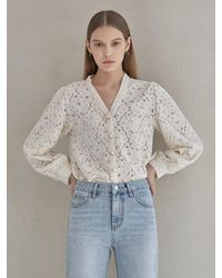 YAN13 - Floral V Pearl Blouse - Lyst