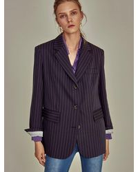 YAN13 Pin Stripe Pattern Jacket - Blue