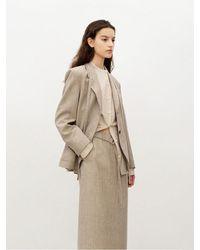 AVA MOLLI [summer Wool] Outpocket Single Jacket - Natural