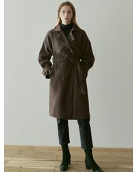YAN13 Double Breasted Coat - Brown