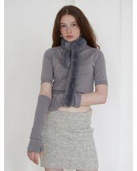 Baby Centaur Hand Warmer Short Sleeve Knit Top - Grey