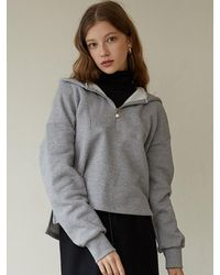 F.COCOROMIZ - Pearl Handle Half Zip Up Hoodie Shirt - Lyst