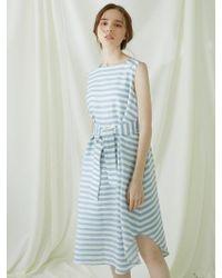 MILLOGREM - Striped Draped Dress - Blue - Lyst