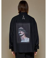 Add Back Painting Crop Shirts - Black