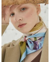 MADGOAT Silk Square Blooming Flower Scarf - Blue