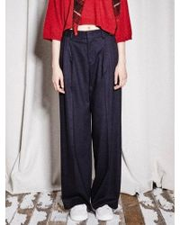NOHANT - New Classic Wide Leg Trousers Navy - Lyst
