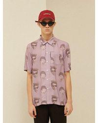 13Month [unisex] Face Printing Aloha Shirt Purple