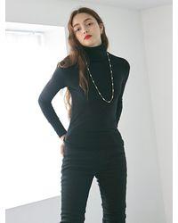 YAN13 Skinny High Long Tee - Black