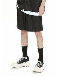 VOIEBIT V081 Vegan Leather Pleated Shorts - Black