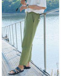 URBANDTYPE Pl088_ubdty Linen Banding Pants_khaki - Green