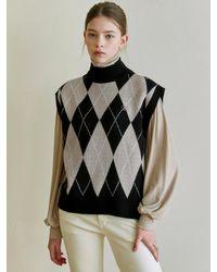 YAN13 - Argyle Mock Neck Knit Vest - Lyst