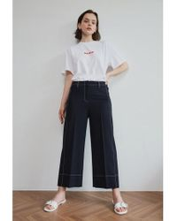 AEER - Trousers Wide Wool Span Navy - Lyst