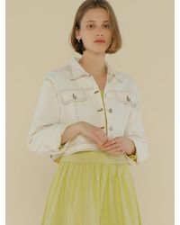 among Cotton Crop Jacket - White