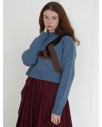 Baby Centaur Wool Geometry Jacquard Knit Top - Blue