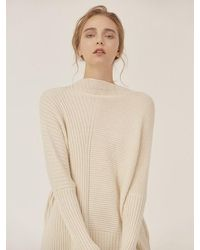 LE CASHMERE Ribbed Boat Neck Pullover - White