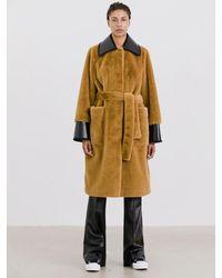 Stand Studio Pamella Coat Faux Fur Velvety - Brown