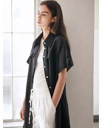 AVA MOLLI [summer Wool] H-line Long Shirt Dress - Black