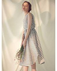 MILLOGREM Striped Draped Dress - Blue