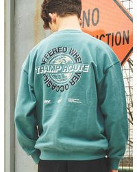 ANOUTFIT Unisex World Globe Heavy Sweatshirt - Blue