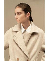 AVA MOLLI Lana Double Breasted Coat - Natural