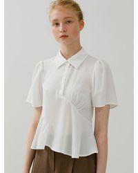 among A Unbalance Shirring Blouse [2 Colors] - Pink