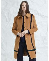 MILLOGREM - Crossed Color Mac Coat Beige - Lyst