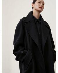 Low Classic Wool Belt Coat - Black