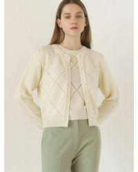 among A Diamond Knit Cardigan - Green