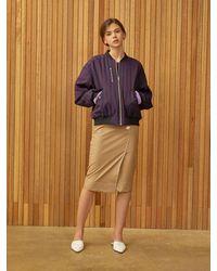 Clue de Clare Stripe Reversible Ma-1 Jacket - Purple