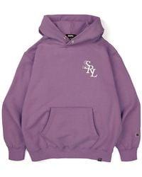 SSRL Slant Logo Button Hoodie - Purple