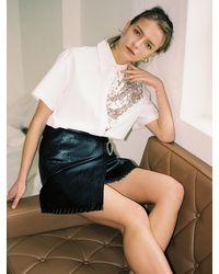 THE ASHLYNN Judy Sequined Short Sleeve Shirt - White
