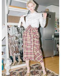 CLUT STUDIO 0 8 Check Tied Full Skirt - Natural