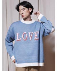 URBANDTYPE Love Crewneck Knit Light Blue