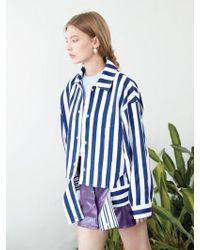CLUE DE CLARE | Stripe Coach Jacket Blue | Lyst