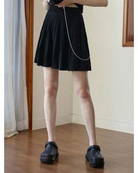 Baby Centaur Rich Cable Knit Flare Skirt [] - Black