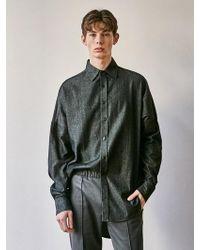 YAN13 - Denim Oversize Shirt Black - Lyst