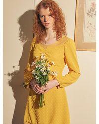 Salon de Yohn Chiffon Layered Mini Dress - Yellow