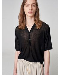 Noirer Seer Wool V-neck T-shirt Black